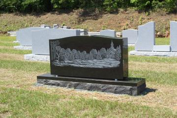 Black Companion Memorial with snowy etched deer scene